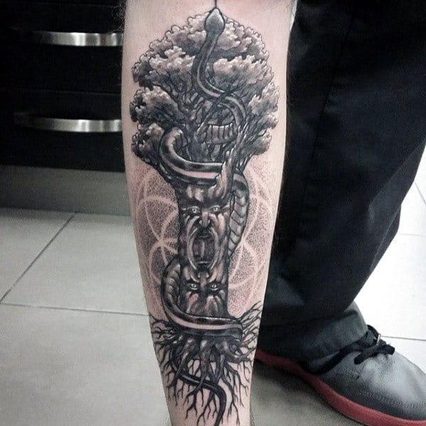 Tree Of Life Guys Shin Tattoo With Snakes