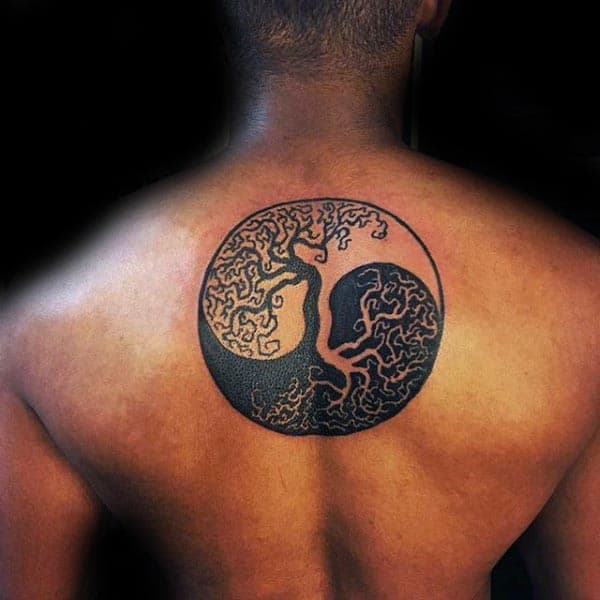 Tree Of Life Guys Yin Yang Upper Back Tattoos
