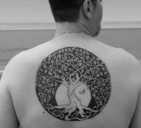 Tree Of Life Knots Male Moon Upper Back Tattoo Design Ideas With Black Ink
