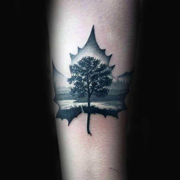 Tree Of Life Maple Leaf Mens Arm Tattoo