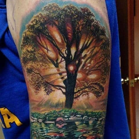 75 tree sleeve tattoo designs for men ink ideas with branches. Black Bedroom Furniture Sets. Home Design Ideas