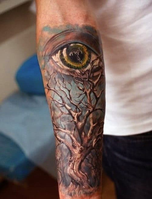 Tree Of Live Forearm Tattoo Sleeve For Guys With All Seeing Eye Watercolor Style