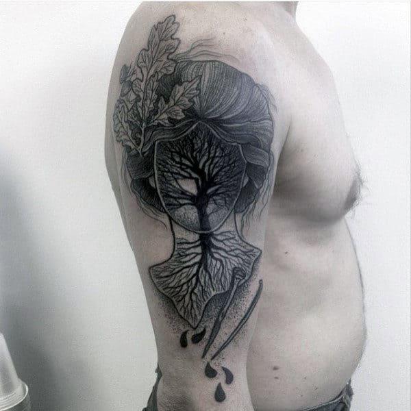 Tree Portrait Mens Unique Upper Arm Tattoos