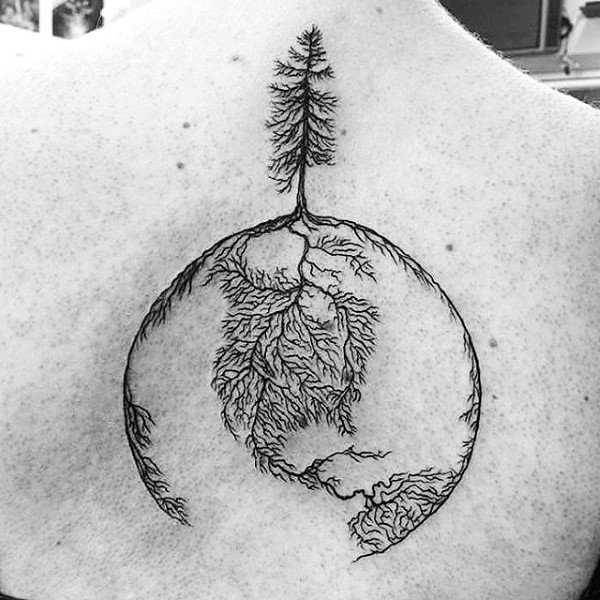 Tree Roots Globe Upper Back Tattoo Design Forguys