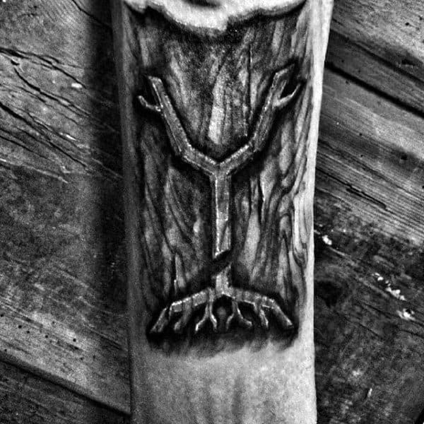 Tree Roots Wood Carving Mens Inner Forearm Tattoos