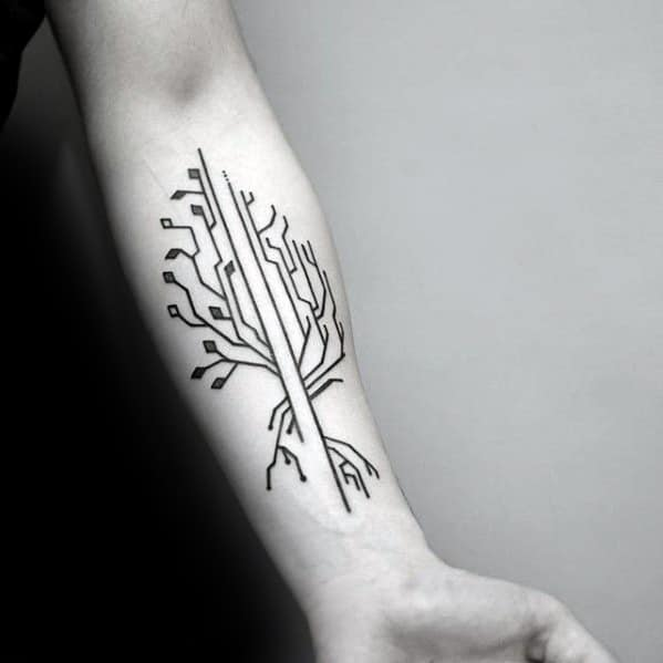 Tree Simple Line Branches Mens Inner Forearm Tattoo