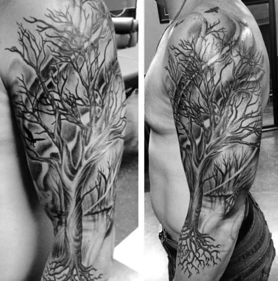 Tree Sleeve Tattoo For Men With Roots