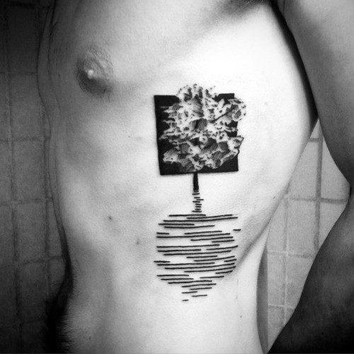 Tree Soundwave Shadow Rib Cage Side Tattoos