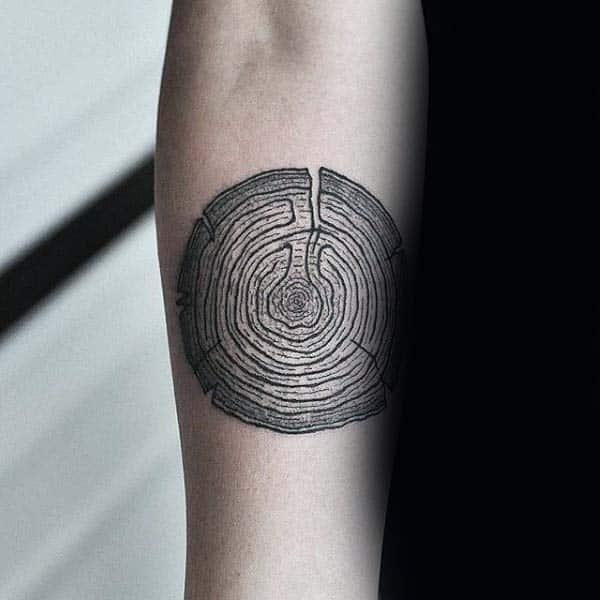 Tree Stump Woodcut Tattoos For Men On Forearm