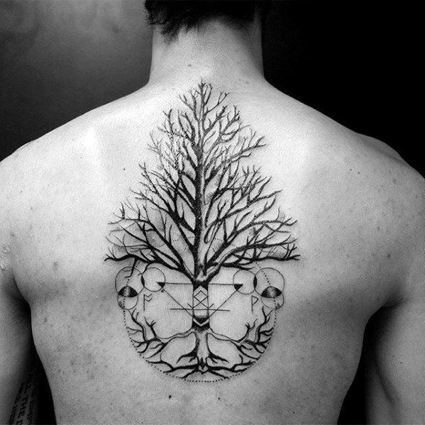 Tree With Geometric Design Unique Back Tattoo Ideas For Guys