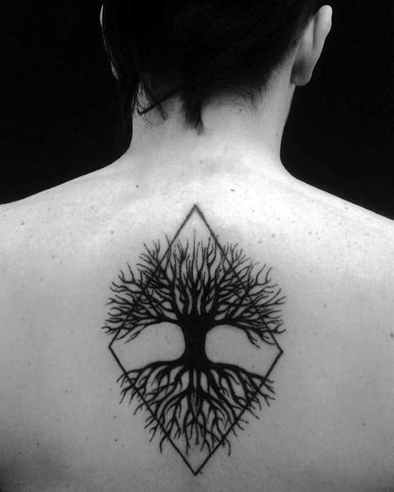 Tree With Geometric Shape Guys Black Ink Unique Back Tattoo