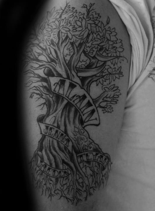Tree With Leaves Male Family Tattoo On Upper Arm