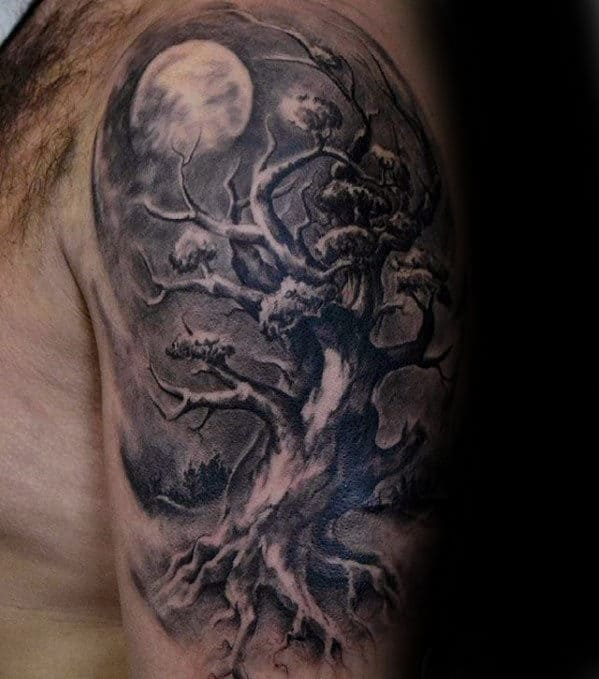 Tree With Moon Mens Realistic Arm Tattoos