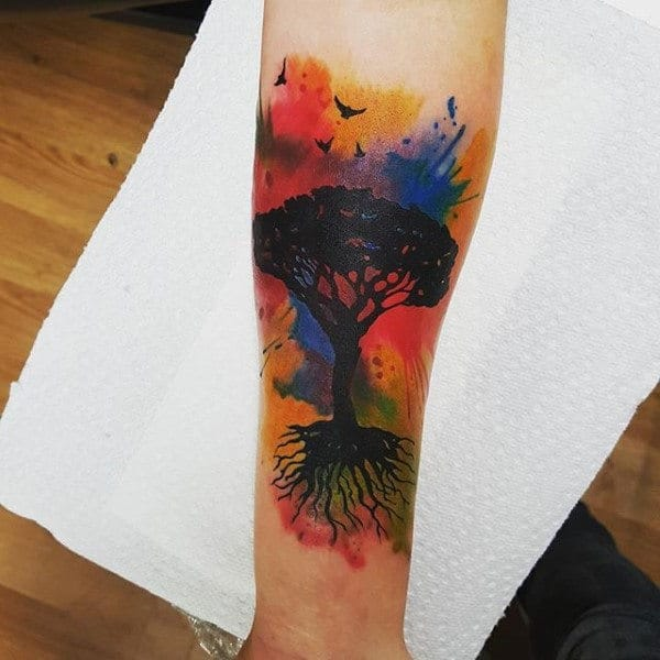 Tree With Roots Colorful Mens Watercolor Forearm Tattoo Inspiration