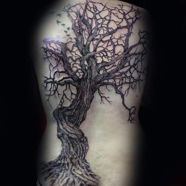 Tree With Small Flying Birds Male Full Back Tattoo