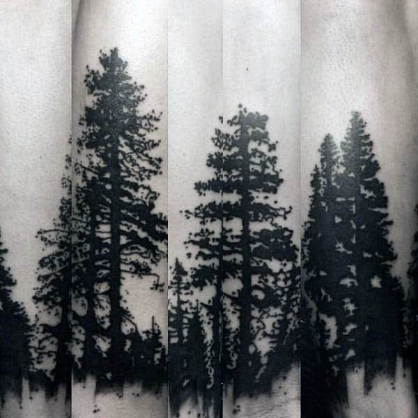 Trees Forester Silhouette Mens Forearm Tattoos
