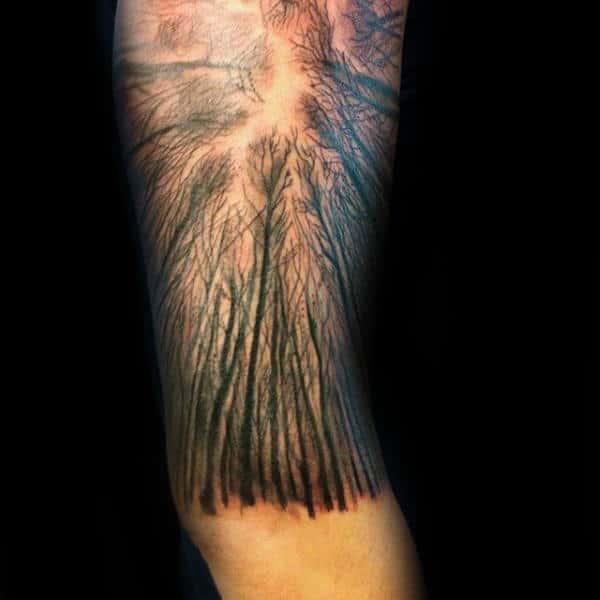 Trees Growing Up Towards Sky Male Forest Arm Tattoo