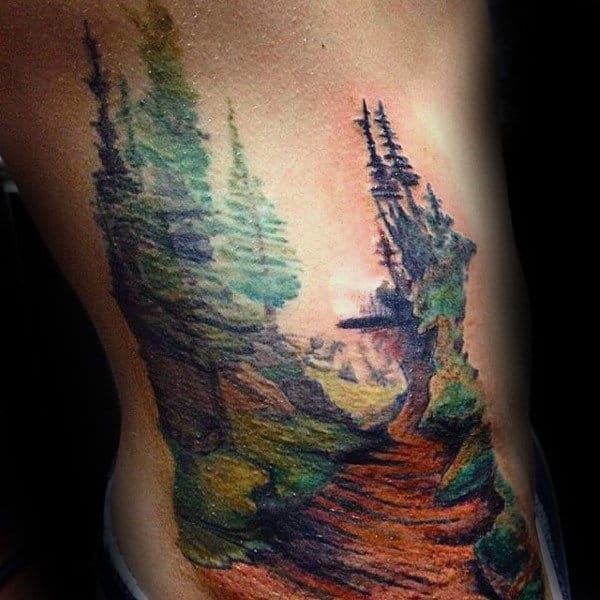 Trees Landscape Ribs Tattoo For Males