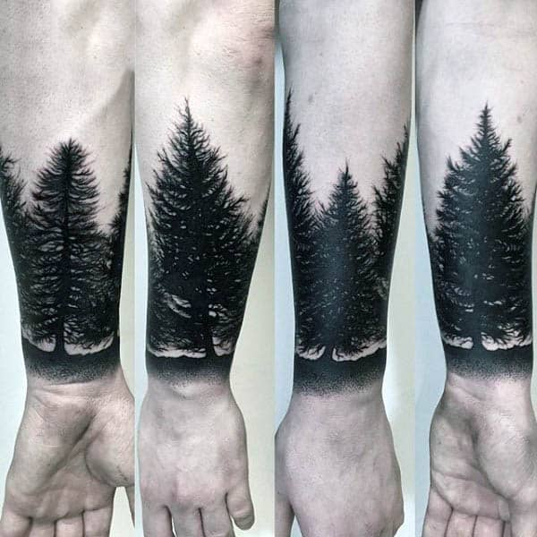 Trees Silhouette Mens Wrist Tattoos