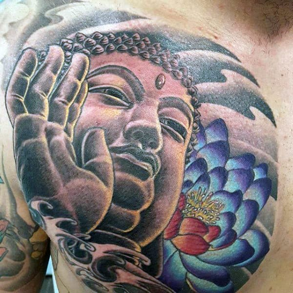 Tremendous Buddha Tattoo On Chest For Men
