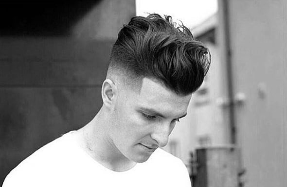 Trendy Medium Long Length Mens Skin Fade Haircut Wavy Thick
