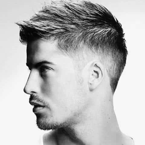 Trendy Mens Faux Hawk Haircut With Fade On Sides