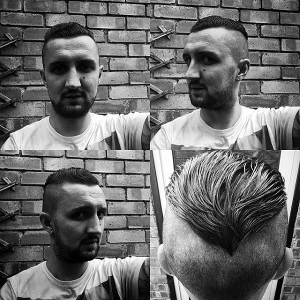 Trendy Mens Undercut Hairstyle Slicked Back