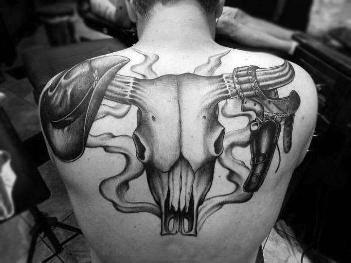 Trendy Skull Intricate Design Backpiece Tattoo On Male