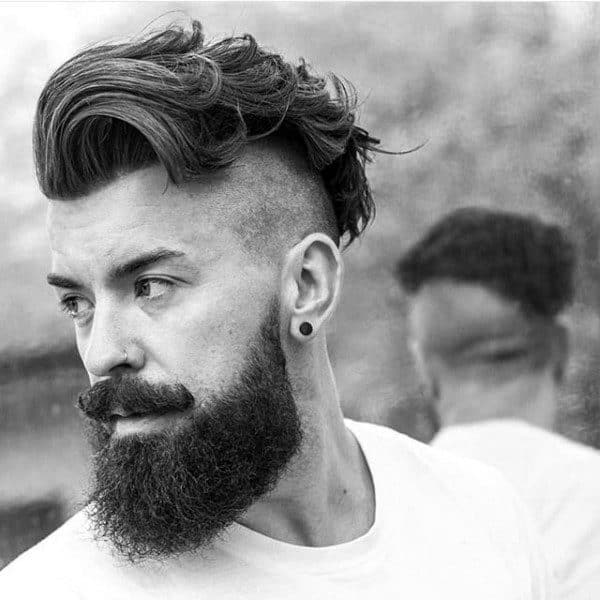 Trendy Undercut Hair For Males With Beards