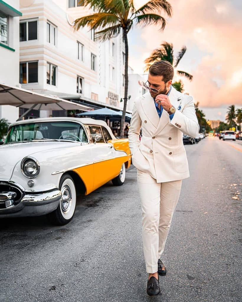 Trendy White Suit Men Style