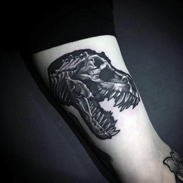 Trex Dinosaur Mens Arm Bones Tattoo