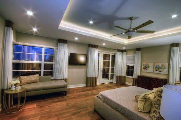 Trey Ceiling Bedroom Lighting Ideas With Recessed Cans