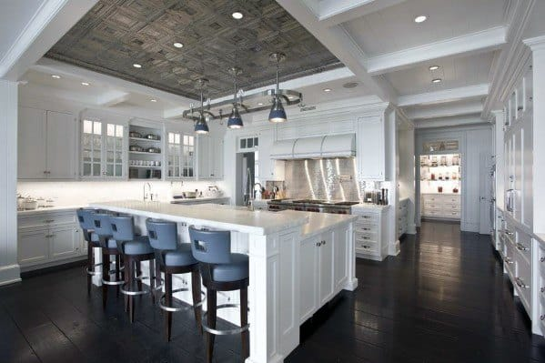 Trey Ceiling With Wood Planks Kitchen Ideas