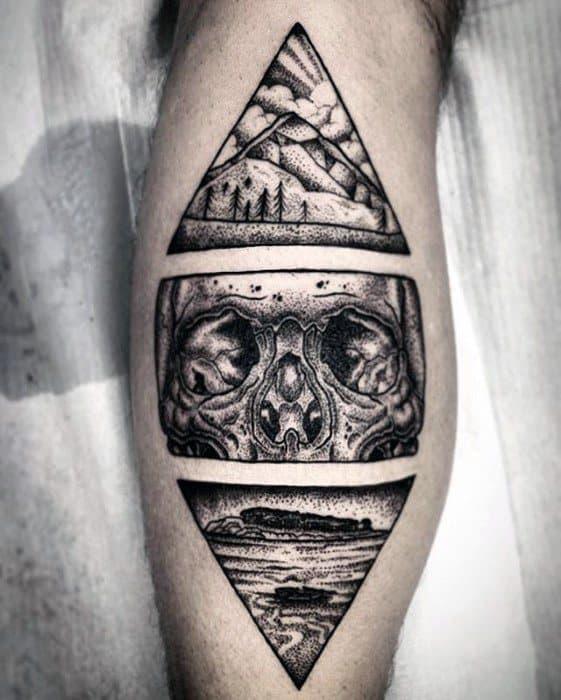 Triangels Mens Unique Skull Back Of Leg Tattoo Designs