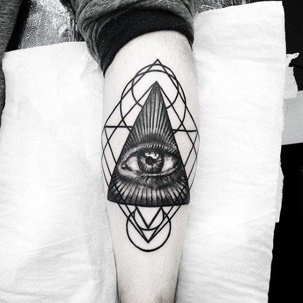 Triangle 3d Eye Geometric Leg Tattoo Design Ideas For Males