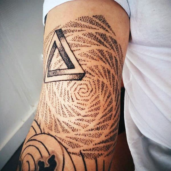 Triangle And Dotted Pattern Tattoo Male Forearms