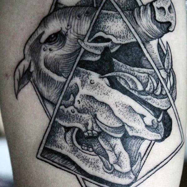 Triangle Boar Skull Mens Arm Tattoos