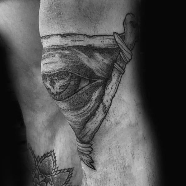 Triangle Bones All Seeing Eye Guys Knee Tattoo