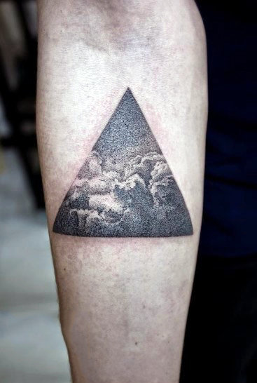 Triangle Cloud Tattoo On Mans Forarem