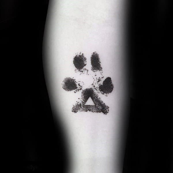 Triangle Dog Paw Abstract Male Tattoos