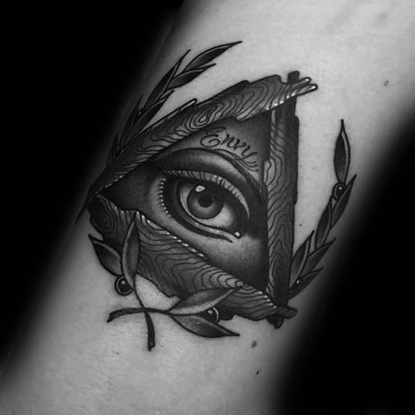 Triangle Eye 3d Laurel Wreath Tattoo Design Ideas For Males On Forearm