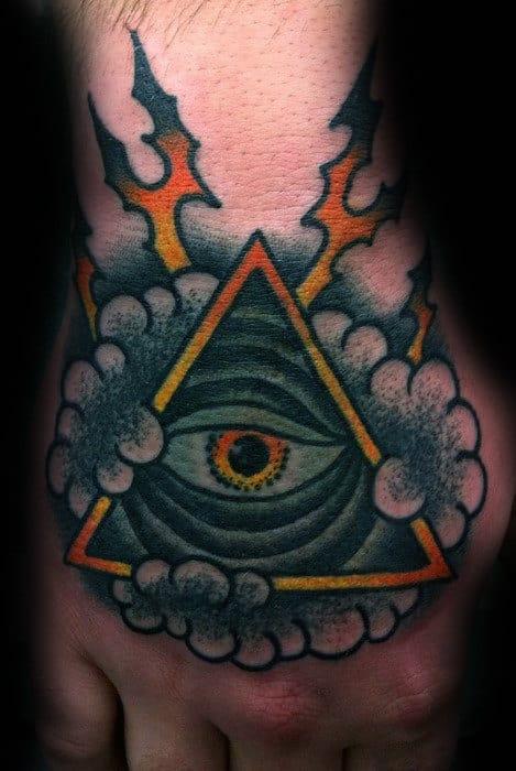 Triangle Eye Mens Traditional Hand Tattoo Design Ideas