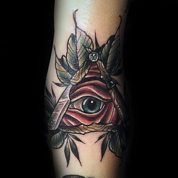 Triangle Eye Neo Traditional Mens Cool Ditch Tattoo Ideas