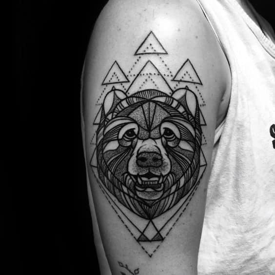 Triangle Geometric Bear Guys Arm Tattoos
