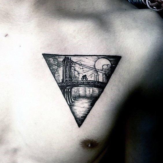 Triangle Guys Bridge Chest Tattoo