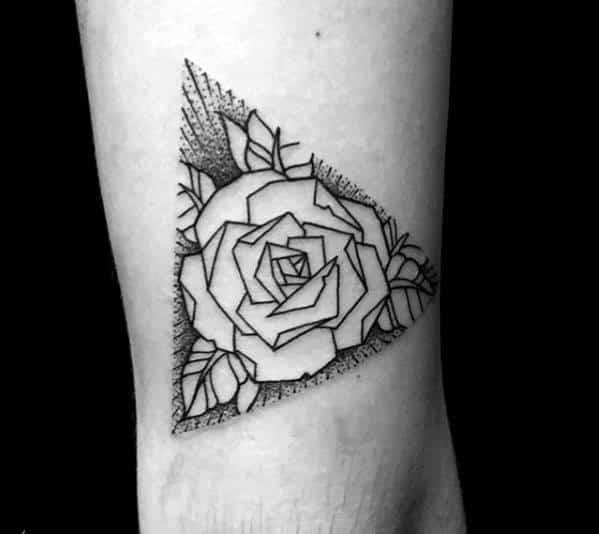 Triangle Guys Geometric Rose Arm Tattoos