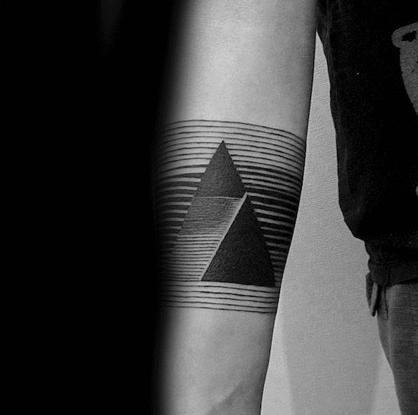 Triangle Linework Inner Forearm Male Minimalist Tattoo Designs