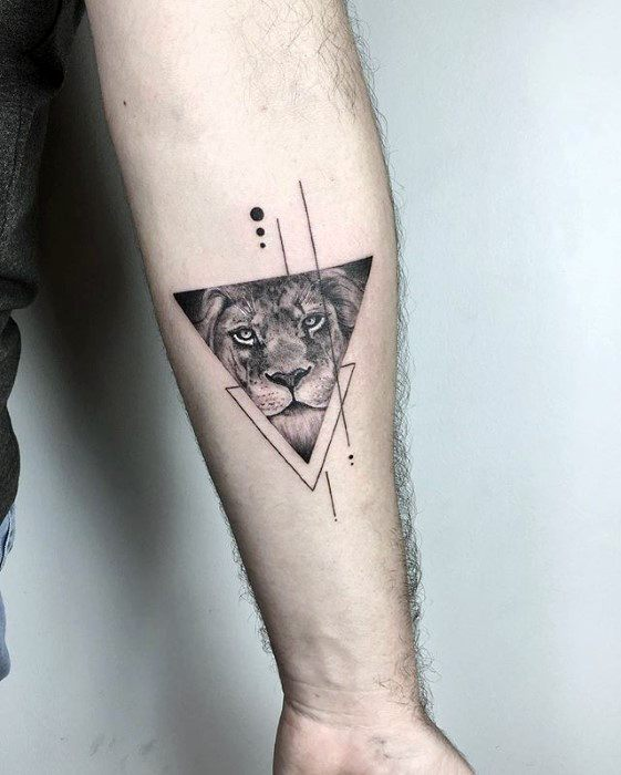 Triangle Lion Inner Forearm Small Detailed Guys Tattoos