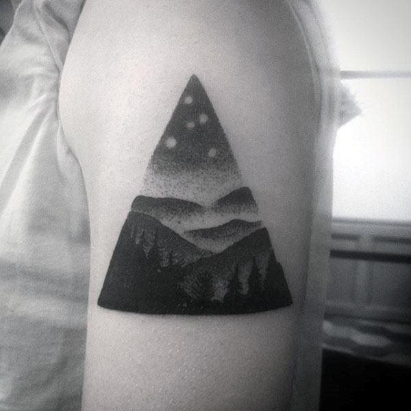 Triangle Nature Landscape Mens Pointillism Upper Arm Tattoo