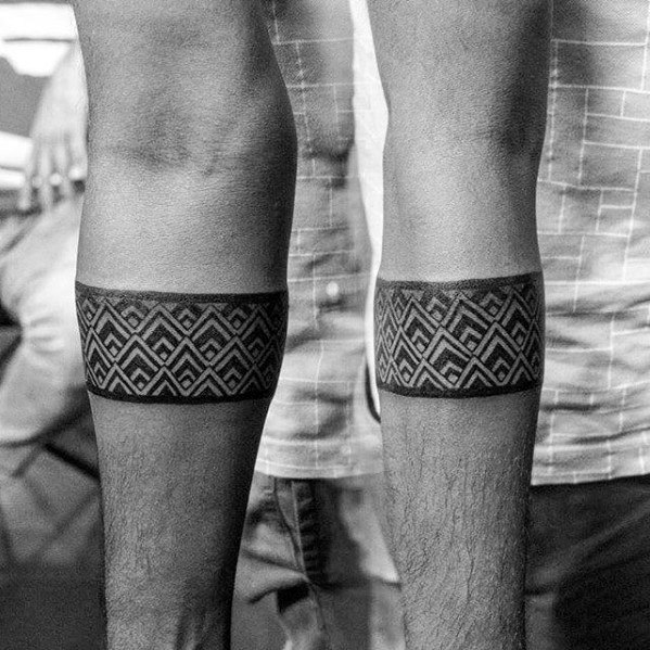 Triangle Pattern Guys Forearm Band Tattoo
